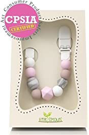 BPA Free Silicone Teether Comfort Wooden Pacifier Chain Holders Clip Newborn Baby Soother Clip Chew Beads DIY Natural Baby Teething Grasping Toy Lamptti Baby Pacifier Clips