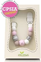 Pacifier Clip, Modern & Trendy - 2 in 1 BPA Free Silicone Teether Beads with Unique Shapes – Best Pacifier Holder For Teether Toys, Stuffed Animals, Soothie/MAM, Infant Blankets & Drool Bibs for Girls
