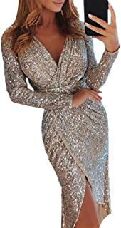 JKoYu Dress for Women Fitted Evening Party Sexy Women Sequined V Neck Long Sleeve Split Midi Pencil Dress