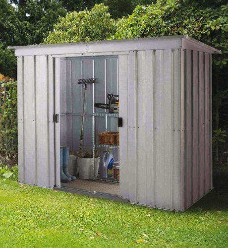 Yardmaster 8 x 4 ft Store-All Pent Roofed Metal Shed with Floor Frame - Silver