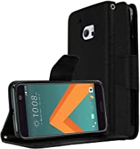 [HTC 10] Wallet Case, REDshield [Black] Faux Saffiano Leather Front Flip Cover with Built-in Card Slots, Magnetic Flap wit...