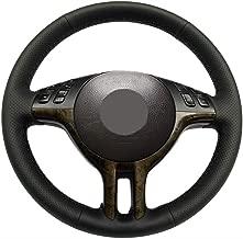 DIY Steering Wheel Cover for BMW 2001-2005 E46 3 Series 325i 330i / 2001-2003 BMW E53 X5 Stitch On Wrap Black Microfiber Leather