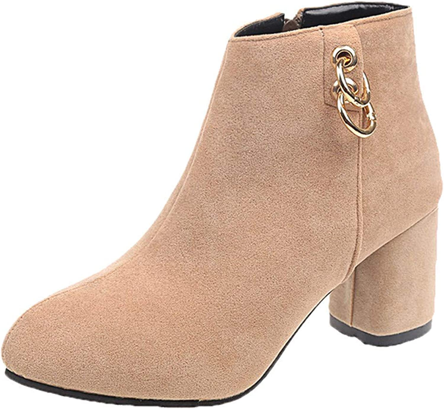 JaHGDU Women's Round Toe High Heel shoes Solid color Suede Martin Boots Zipper Leisure Elegant Cosy Wild Tight Super Quality for Womens