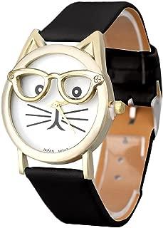 Winhurn Super Cute Cat Glasses Design Analog Quartz Women Wrist Watch (Black)