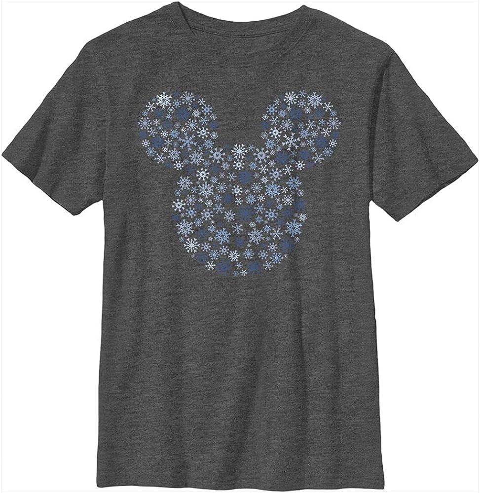 Disney Characters Mickey Ear Snowflakes Boy's Heather Crew Tee
