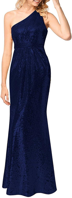LISA.MOON Women's One Shoulder Sequins Sleeveless Zipper Back Prom Party Dresses