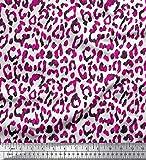 Soimoi Rosa Kunstseide Stoff Leopard Tierhaut gedruckt