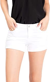 Women's Juniors Low Rise Shorts with Rolled Up Hem