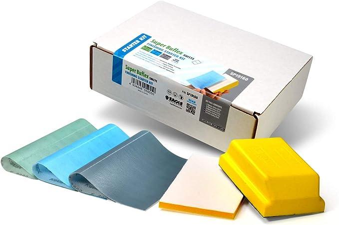 6 feuilles de papier de verre pour ponceuse Industrial Hand Sablage Bloc Base en Mousse Inc