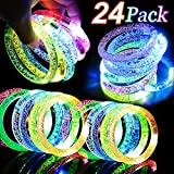 24 Pack Glow In The Dark LED Bracelets Party Favors Flashing Light Up Bracelets Glow Sticks Party Toys Neon Party Supplies Light Up Rave Concert Wedding Birthday Halloween Party Supplies Favors Gift