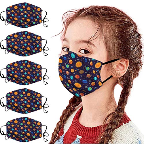 5 Stück Schutz Stoff Waschbar, Mund und Nasenschutz Für Kinder, Wiederverwendbar Aus Baumwolle Bunt MundStoff füR Freizeit Sport Training Mundschutz Staub Pollen GesichtsSchals