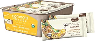 GoMacro MacroBar Organic Vegan Protein Bars - Banana + Almond Butter (2.3 Ounce Bars, 12 Count)