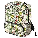 TIZORAX - Mochila escolar para niñas y niños, diseño de flores sin costuras, con plantas, para mujer, mochila de viaje, senderismo, acampada