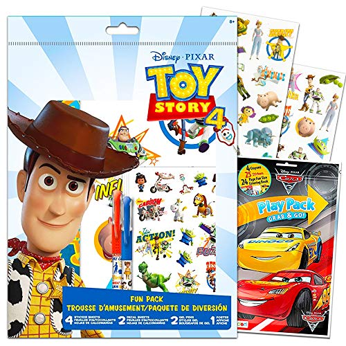 Disney Pixar Toy Story 4 Party Favors Set -- Bundle Includes Toy Story Stickers, Decals, Posters, Pens, and More with Bonus Disney Cars Mini Coloring Book (Disney Toy Story Party Supplies for Kids)