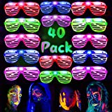 HWG 40 Pack LED Party Light Up Glasses, 5 Colors Light Up Shutter Shades Glow in The Dark New Year Gifts Rave Classroom Events Carnival Halloween Birthday Party Favors for Adults Kids