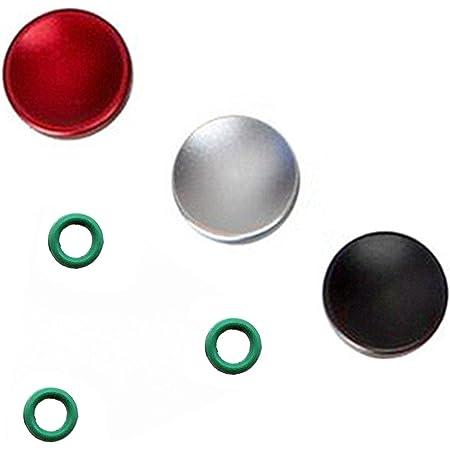 3個セット GeeSo アルミニウム合金 シャッターボタン 10mm 各社カメラ対応 凹 タイプ (3個セット, 凹(黒赤銀))
