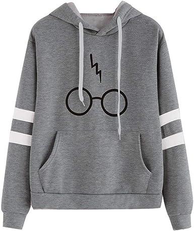 Minetom Mujeres Camisetas Manga Larga Varsity Gafas de Harry Potter Encapuchado Camisa de Entrenamiento Sudaderas con Capucha Tops