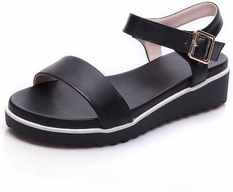 AmoonyFashion Women's Cow Leather Solid Buckle Open Toe Kitten Heels Sandals