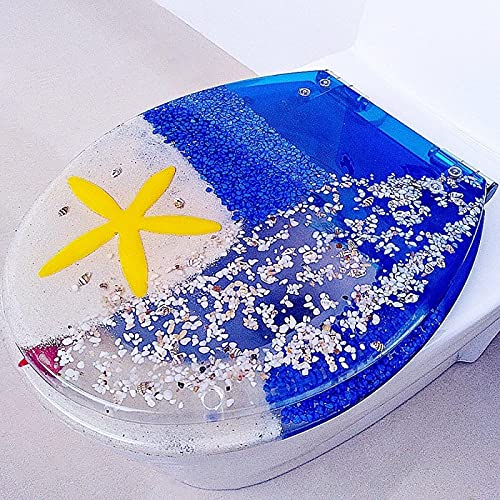 BANNBA Tapa de Asiento de Inodoro de Resina de Cierre Lento con Tapa, Efecto 3D Hermosos Asientos de Inodoro Resistentes para Accesorios de fijación Superior de Inodoro Tipo D/V/O, Serie Ocean, Azul
