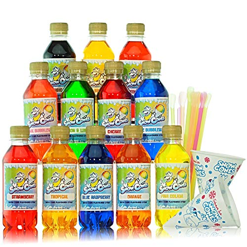 Slush Puppy Syrup|Snow Cone Syrup|Free Cups and Strawspoons|Our 12 Top Selling Most Popular Flavours|Designed for Use in All Slush Puppie|Slush|Slushie Machines