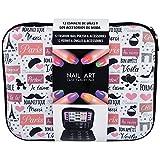 Gloss - caja de maquillaje, caja de regalo para mujeres - Set de maquillaje Esmalte de uñas - cojín de París - 58 piezas