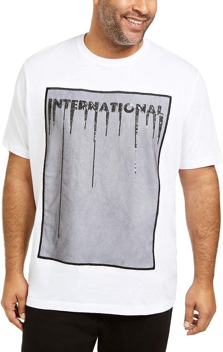 INC Mens T-Shirt Big&Tall Mesh Sequins Embellished White Big 2X