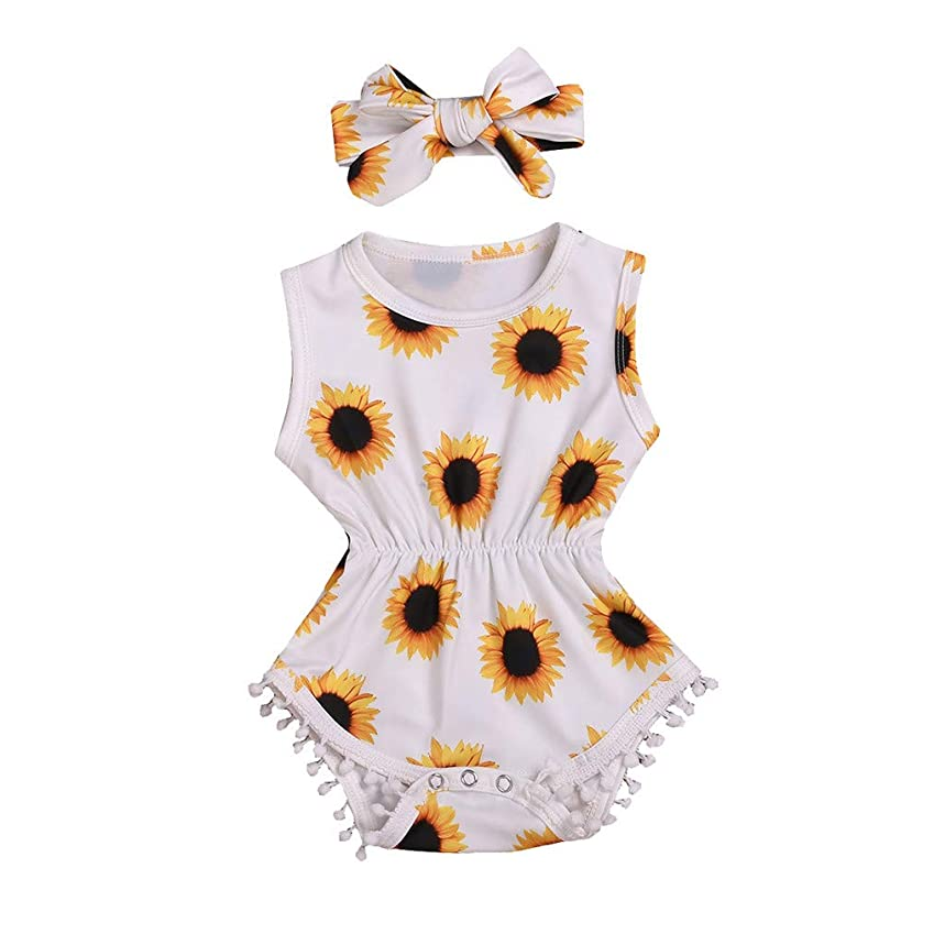 BCDshop_Baby Summer Clothes 3-24 Months Infant Baby Girl Sleeveless Sunflower Print Tassels Romper Bodysuit+Headband Outfit