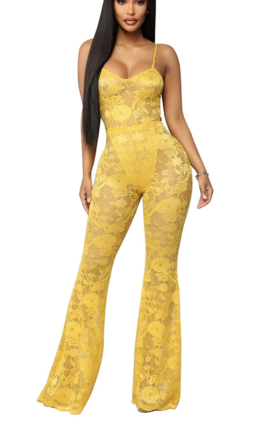 Women's Sexy 2 Pieces Lace Mesh See-Through Bodycon Outfit Sets High Cut Bodysuit + Long Flare Pants Clubwear emi7159272