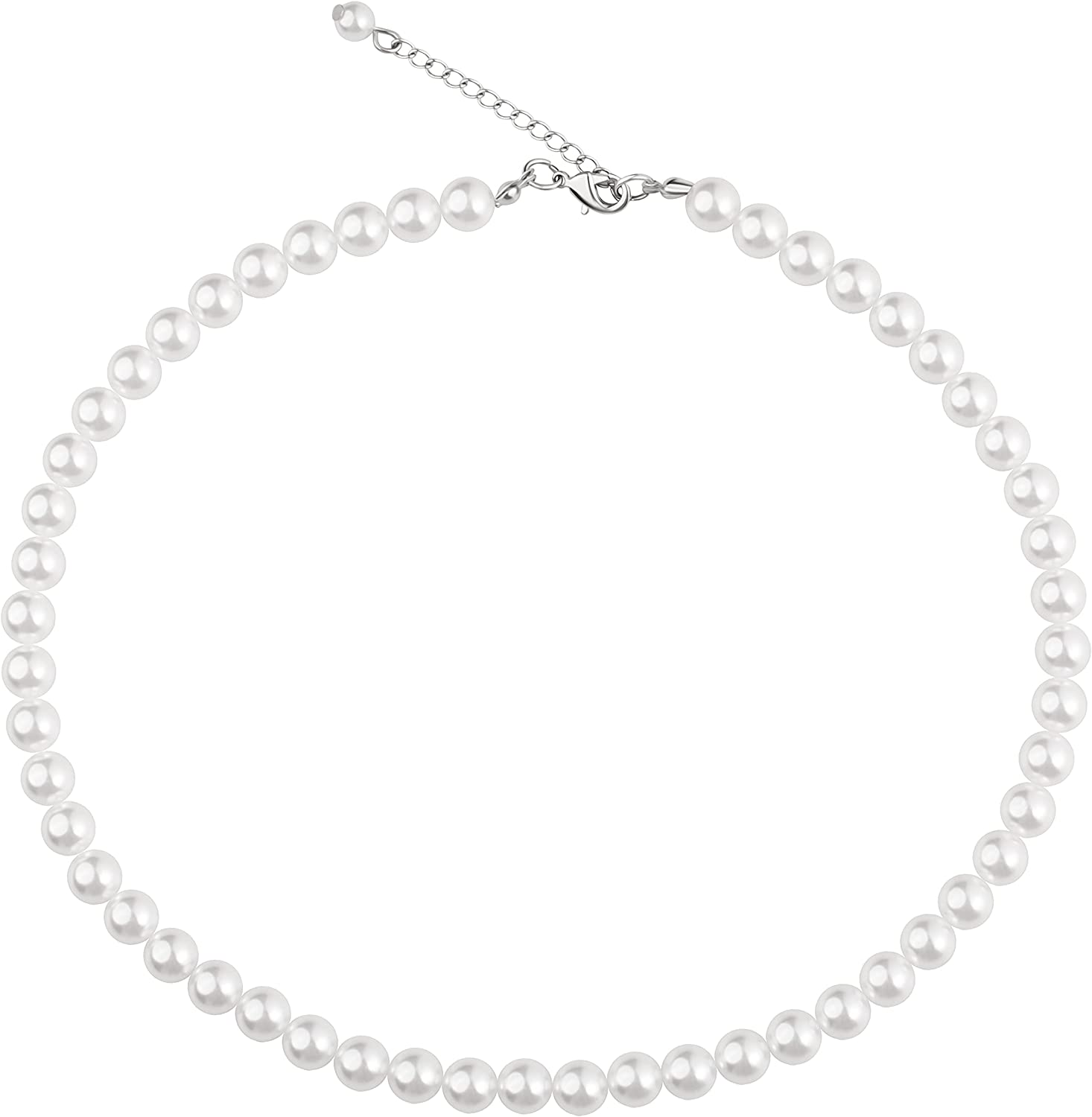 WELLKAGE Imitation Pearl Necklace Wedding Pearl Necklace for Women