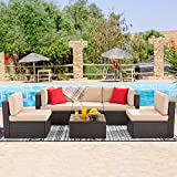 Vongrasig 6 Pieces Patio Furniture Sets, Outdoor Sectional Sofa All Weather PE Rattan Patio Sofa Wicker Couch Garden Backyard Conversation Set with Glass Table,Beige Cushions and Red Pillows (Brown)