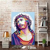 神イエスキリストキャンバスポスター古典的な家の装飾プリント絵画聖壁アート写真リビングルームオフィス装飾-40x50cmフレームなし