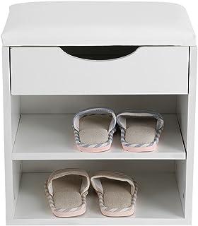 Banc à Chaussures Entrée, 2 Etages Meuble Armoire de Rangement à Chaussures en Bois avec Coussin d'assise Rembourrée Blanc...