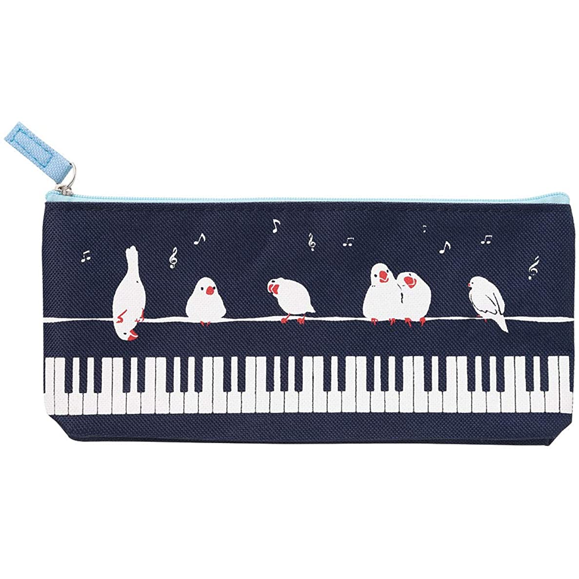 部プロペラ年次Pianoline マチ付きペンケース 鍵盤&ことり 音楽筆箱