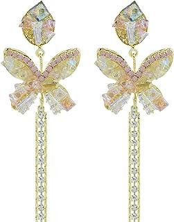 Mecool Pendientes colgantes de mariposa para mujer, con circonita cúbica brillante, plata de ley, color dorado