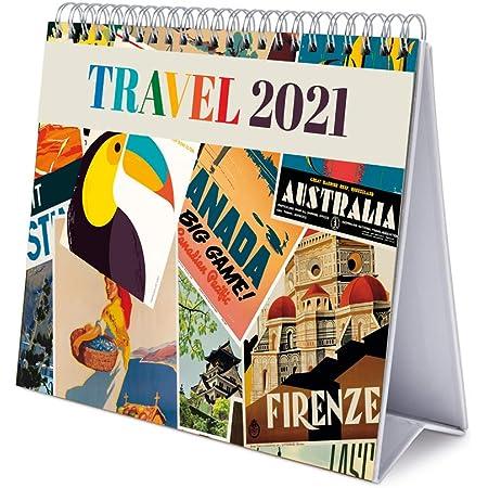 Grupo Erik Calendario da Tavolo 2021 Travel, calendario da scrivania 2021, 20x18 cm