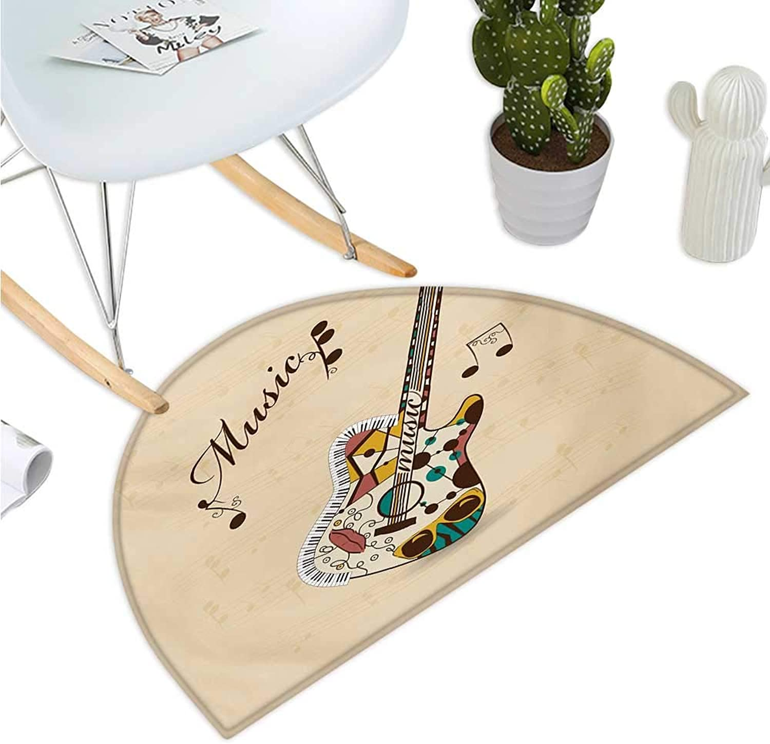 Guitar Semicircle Doormat Abstract Funky Guitar Instrument Melody Musical Notes and Hand Writing Halfmoon doormats H 43.3  xD 64.9  Sand Brown Multicolor