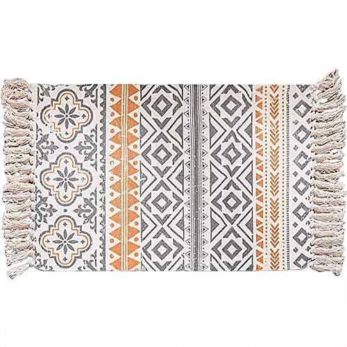 Lurowo Alfombra de algodón lavable, alfombra tejida con borla, para cocina, sala de estar, dormitorio, lavandería, 60 x 90 cm