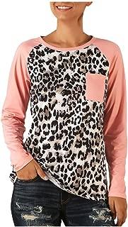 Women's T Shirt Summer Party Shirt Long Sleeves V Neck T Shirt Leopard Pocket Casual Basic Tops Tracksuit