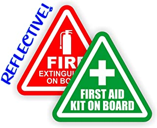 REFLECTIVE 3-inch Fire Extinguisher  First Aid Kit on Board Vinyl Decals  Jeep Stickers  4x4 Labels Pair