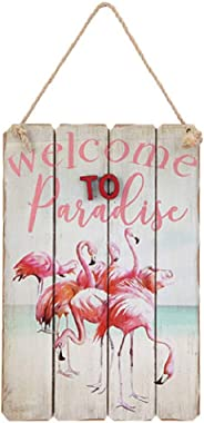 Darice Flamingo Wall Art: Welcome to Paradise, 6.31 x 9.5 inches