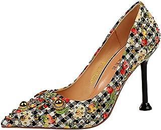 iMaySon European Style Grid Pointed Single Pumps Metal Rhinestone Rivets Women's High Heel Sandals