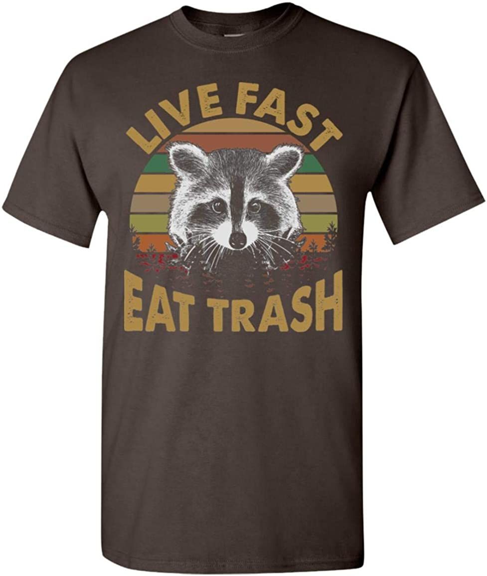 Vintage Live Fast Eat Free shipping on posting reviews Trash T-Shirt Fees free!! Raccoon Funny