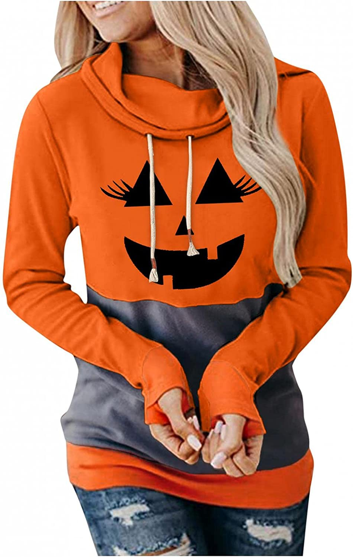 Halloween Sweatshirts for Women Hoodies Long Sleeve Hooded Casual Funny Cute Pumpkin Cowl Neck Sweaters Pullover Tops