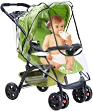 Qivange Stroller Weather Shield Universal Baby Stroller Rain Cover Clear EVA Double Wind Dust Insects Waterproof Shield Cover with Zipper Ventilation