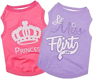 Yikeyo Set of 2 Dog Clothes Summer Puppy Shirt for Small Dog Girl Cute Patterns Pet Tshirts Outfits for Chihuahua Yorkie S...