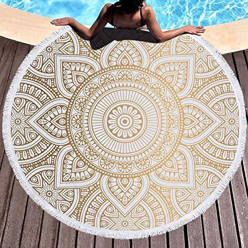 fervory 150 Cm Toalla De Playa Redonda Toalla De Playa Redonda De Microfibra Toalla De Baño Patrón De Estampado De Mandala con Borla