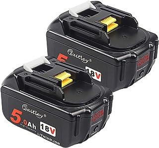 2-pack – quper 18V 5,0 Ah bl1850 Li-ion-ersättningsbatterier (med LED-skärm) kompatibel med Makita DKP180Z,DTM51Z,DHS680Z,...