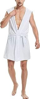 AIEOE Mens Robes Milk Silk Hooded Bathroble Sleeveless Pajamas with Belt