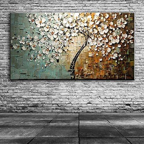 handgemaakte moderne Canvas op olieverfschilderij Paletmes boom 3D bloemen schilderijen Home woonkamer Decor Wall Art50x100cm