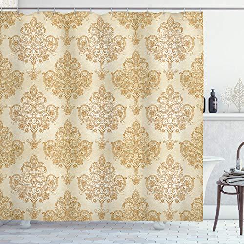 ABAKUHAUS Elfenbein Duschvorhang, Barock Curved Blumen, Set inkl.12 Haken aus Stoff Wasserdicht Bakterie & Schimmel Abweichent, 175 x 180 cm, Creme Hellbraun